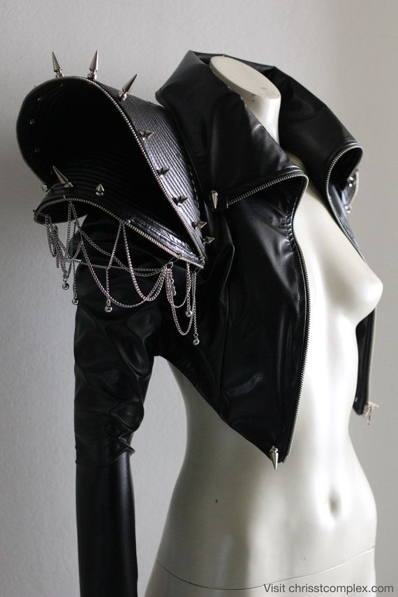 Biker Jacket Goth Gothic Punk Studs Chains Spikes Leather ette  Zipper Fringing Fashion Jacket Lady Gaga - Chrisst SPECIAL ETSY PRICE
