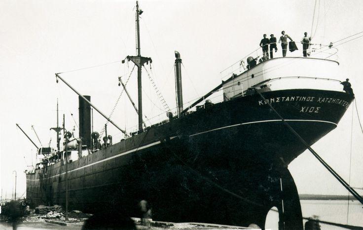 Το ατμόπλοιο KONSTANTINOS HADJIPATERAS, κατασκευής 1913, των Αδελφών Χατζηπατέρα. Στις 24 Οκτωβρίου 1939 προσέκρουσε σε νάρκη και βυθίστηκε περίπου 3 μίλια νότια του Inner Dowsing της Αγγλίας. / The 1913-built Greek steamship KONSTANTINOS HADJIPATERAS, owned by C.Hadjipateras Brothers, mined and sunk on 24 October 1939 about 3 miles south of Inner Dowsing, England.