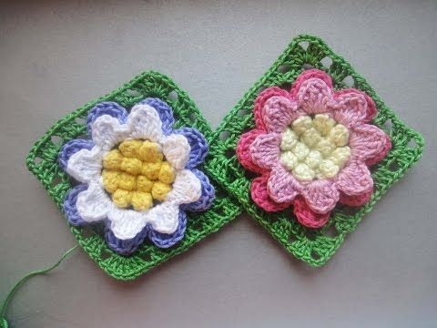 Цветок в квадрате Flower in a square Crochet - YouTube