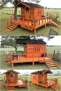 Reclaimed Wood Pallets Patio Cabin Deck