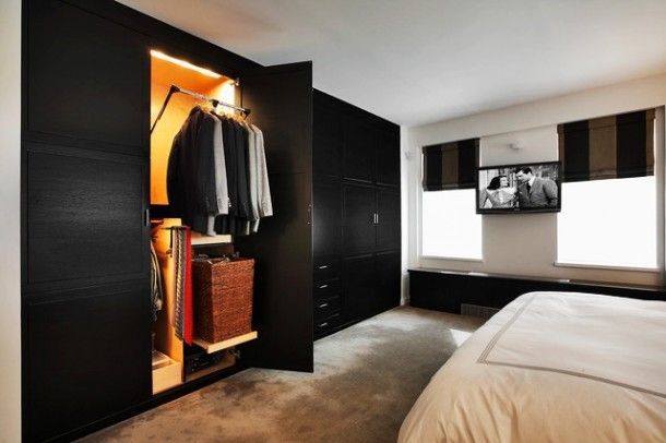 Apartment - Fancy Modern Bedroom Interior With Black Apartment Closet Ideas Door Design Made From Wooden Material For Home Inspiration: Insp...