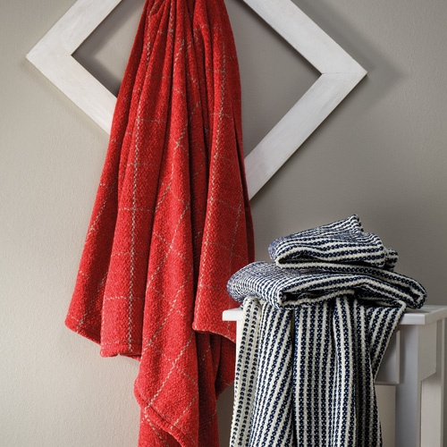 Red Rosalie throw and Blue and White Chenille throw coming up in the Volpes Jan Catalogue
