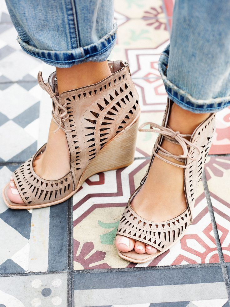 44ad723bf7d Serena Wedge | Laser cut leather wedges featuring an open toe ...