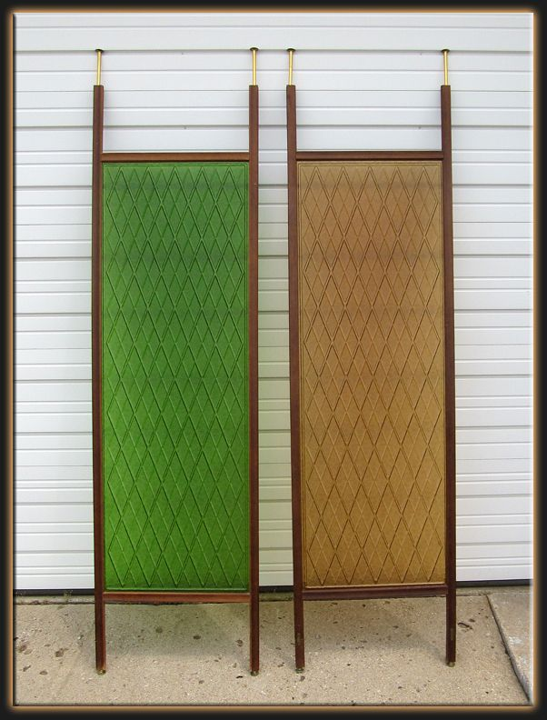 Mid-century tension pole room dividers in green and golden acrylic.  ~~ Not the style, but the concept....the tension poles as room divider....someone should bring that back....especially when many families are sharing space.~~