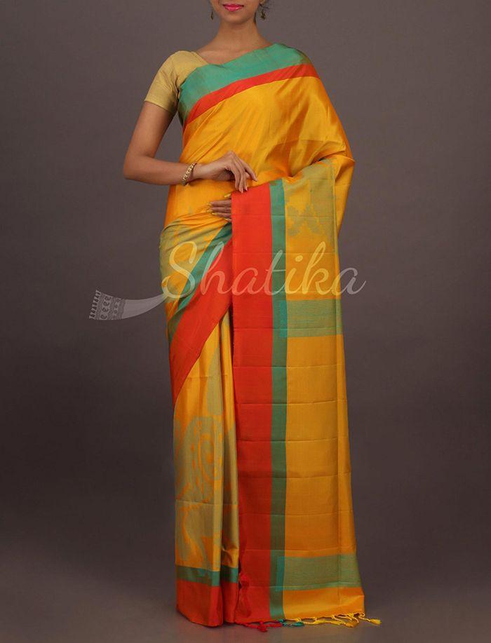 Pavani Luscious Yellow Contrast Border Good Looking Pure #UppadaSoftSilkSaree