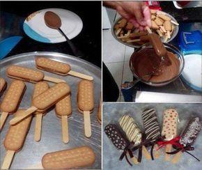 1 lata de leite condensado3 colheres de sopa de chocolate em pó1 colher de sobremesa de margarinabolachas maisena ou Mariachocolate ao leite fracionado para banharchocolate granulado para