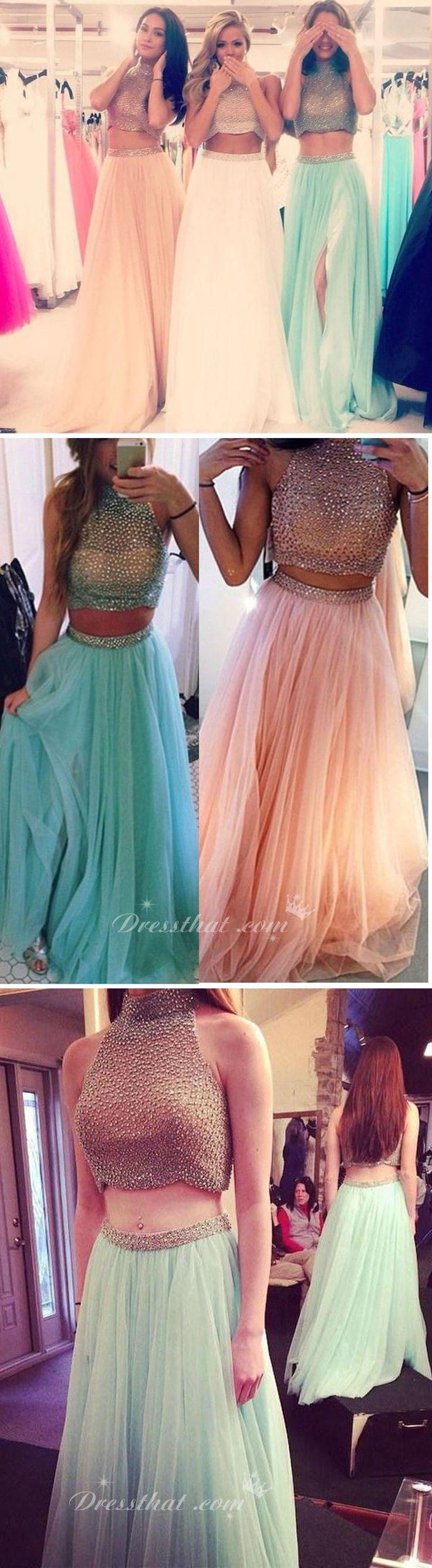 2016 prom dress, modern two-piece prom dress, a-line high collar prom dress, sequined chiffon prom dress