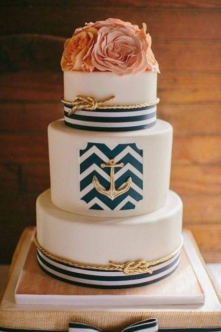 Mariage bleu marine et corail : le wedding cake / gâteau de mariage