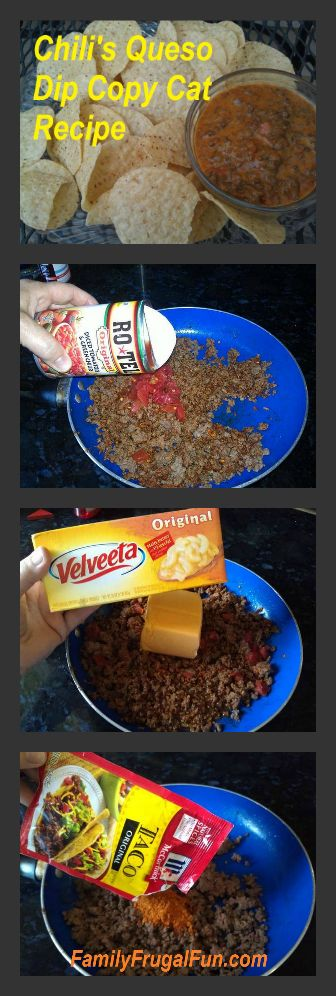 Chili's restaurant copy cat recipe for Chili's Queso dip! Delicious and so easy to make! Just add chips for a fun appetizer!