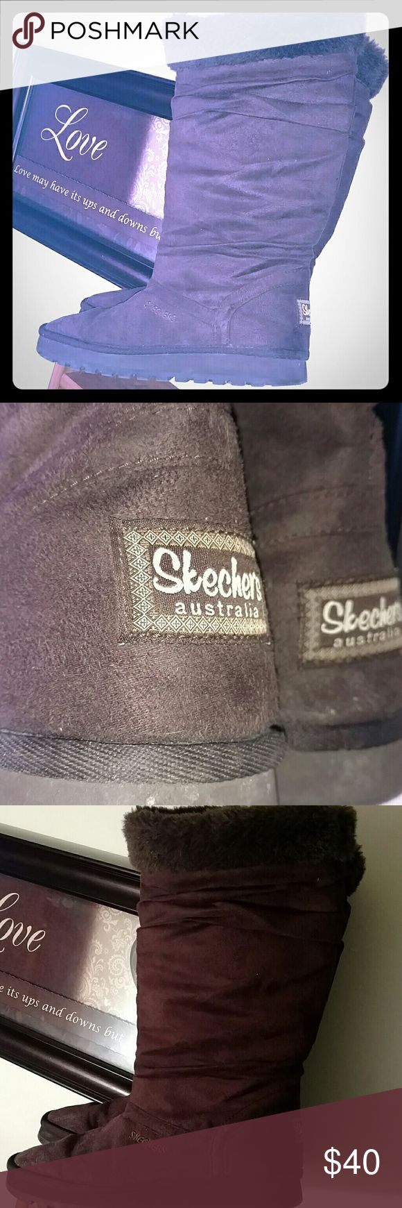 SKECHERS CHOCOLATE BROWN Suede Like  BOOTS Tall Calf Length Skecher Suede Boots Fleece like Fluffy liming Excellent Used Condition !! Soles & Boots in great condition Worn a few,times last season Darker Chocolate Brown Color Skechers Shoes Winter & Rain Boots