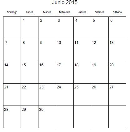 Calendario Junio 2015 para Imprimir | Calendarios