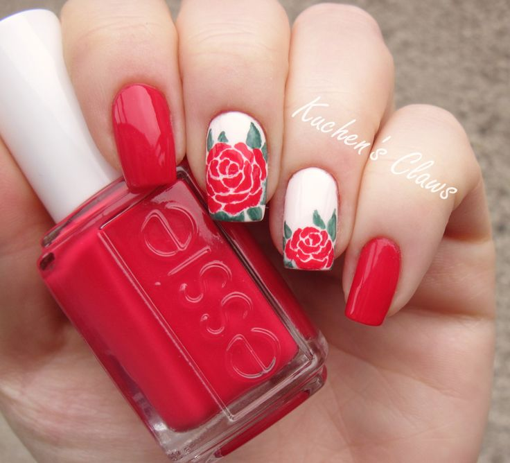 "red rose nail art with Essie ""Double Breasted Jacket"""