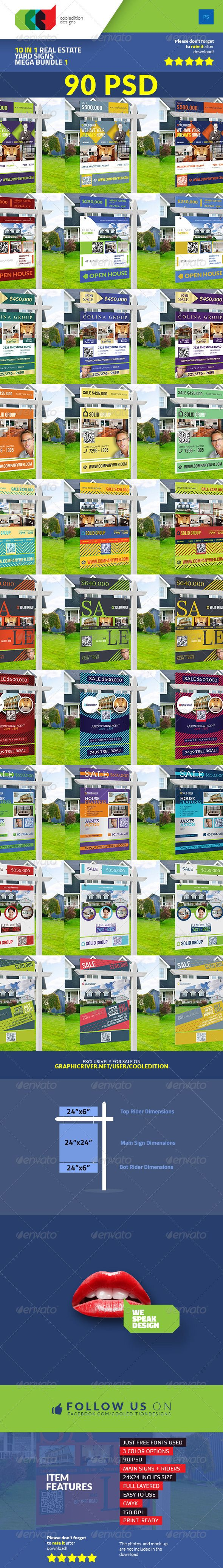 10 In 1 Real Estate Yard Signs Mega Bundle Template #design Download: http://graphicriver.net/item/10-in-1-real-estate-yard-signs-mega-bundle-1/7643913?ref=ksioks