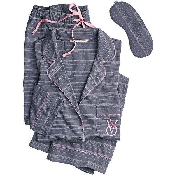 The Sleepover Knit Pajama ($55) ❤ liked on Polyvore featuring intimates, sleepwear, pajamas, victoria secret sleepwear, victoria's secret, knit sleepwear, victoria secret pjs and knit pajamas
