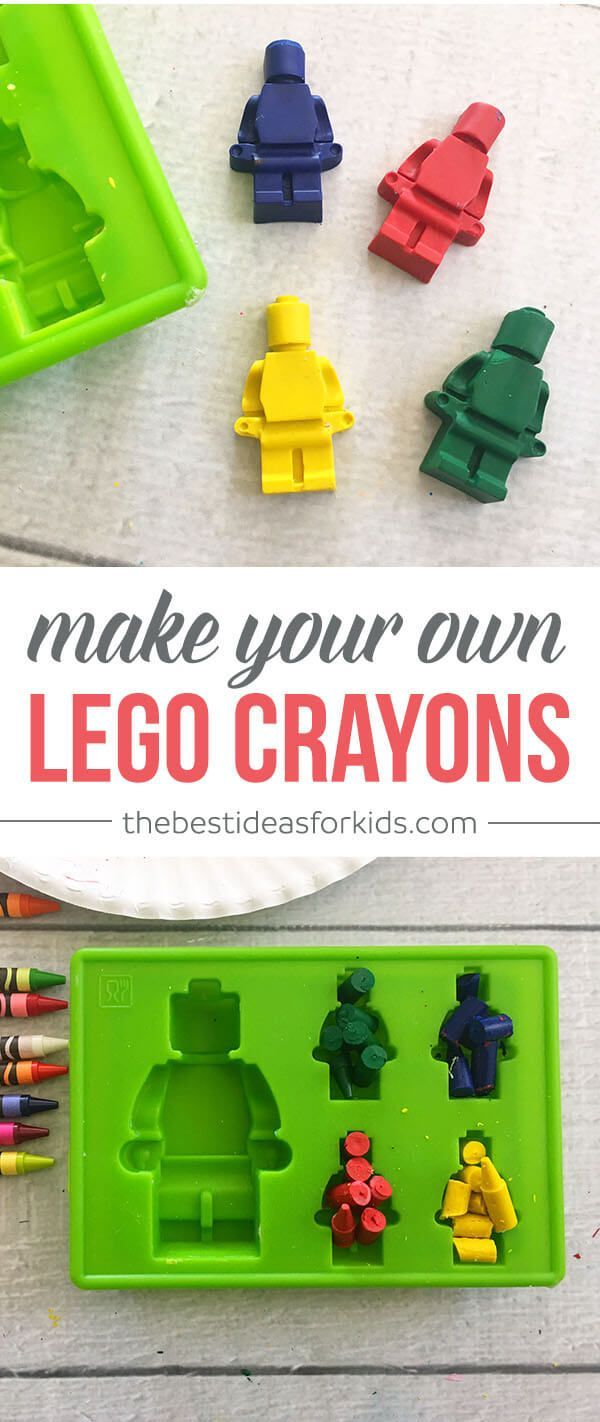 These Lego crayons are so fun to make and use! Such a perfect way to use up broken crayons! Kids Activity | Lego Activity | Lego men crayons | DIY lego crayons | How to make lego crayons | Lego mold | Lego party favor | Lego party ideas via @bestideaskids