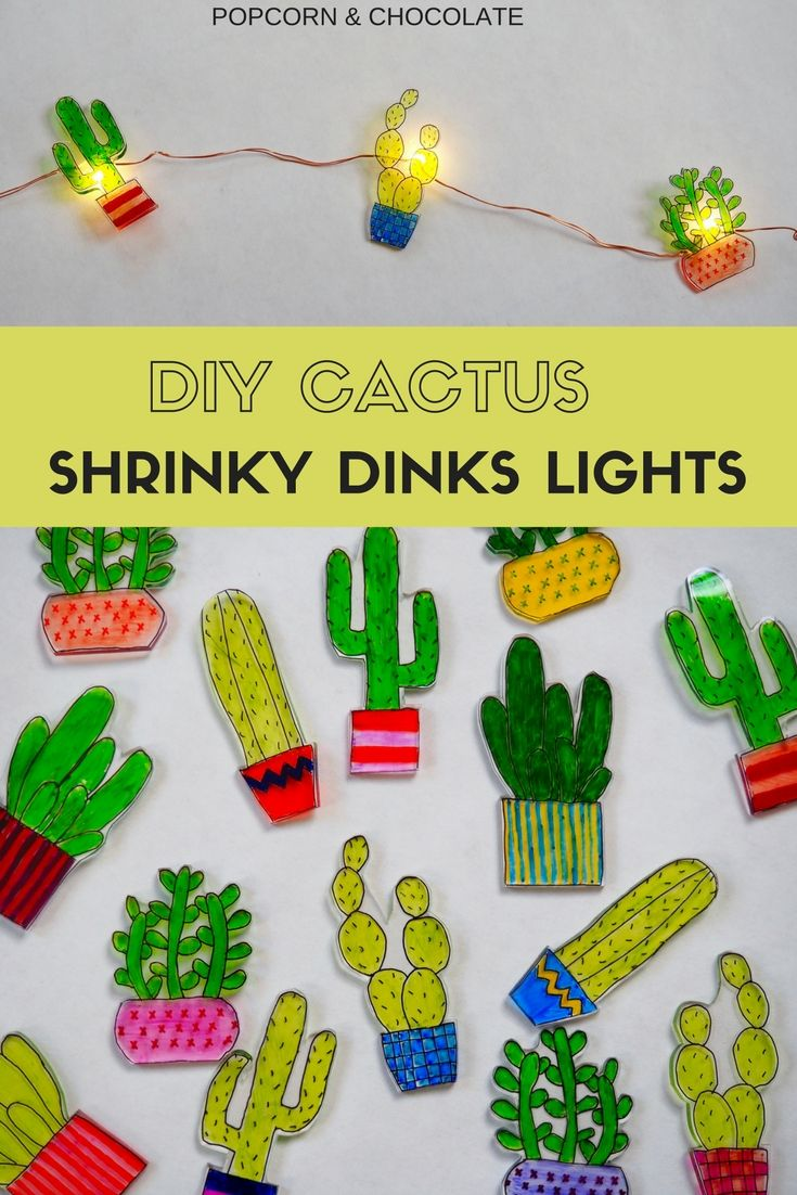 DIY Cactus Shrinky Dinks Lights