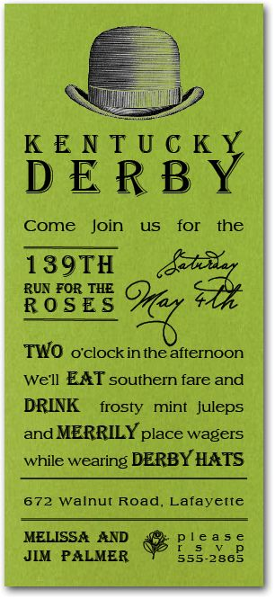 Derby Hat Shimmery GreenParty Invitations, Kentucky Derby Party Invitations