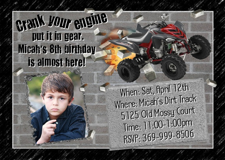 ATV Four-wheeler Birthday Party Invitation Card PERSONALIZED Outdoor Design BOY Boys Fourwheeler Racing motors all terrain. $14.98