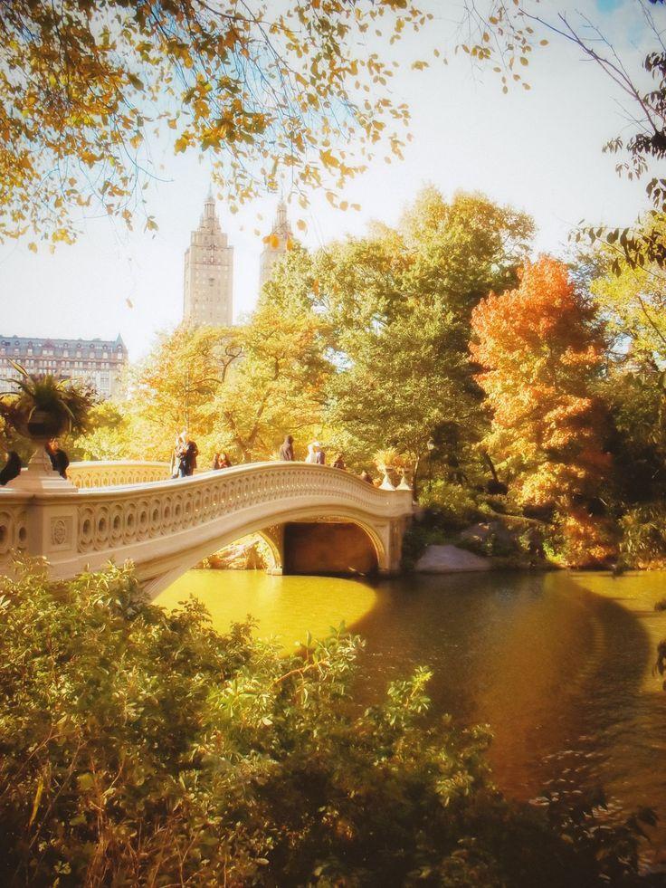 New York City autumn - Central Park - Bow Bridge  —-