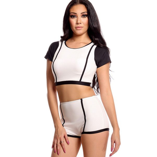 White black padded chest short sleeve crop top two piece swimsuit (£16) ❤ liked on Polyvore featuring swimwear, bikinis, black, swim suits, black and white bikini, black and white swimsuit, padded swimsuits and boyshort bikinis