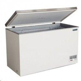 Arcones congeladores muy eficaces y fiables, con tapas en acero inoxidable de fácil apertura, libres de CFC. Exterior en acero, tapa en acero inoxidable, suministrados con 2 cestas.