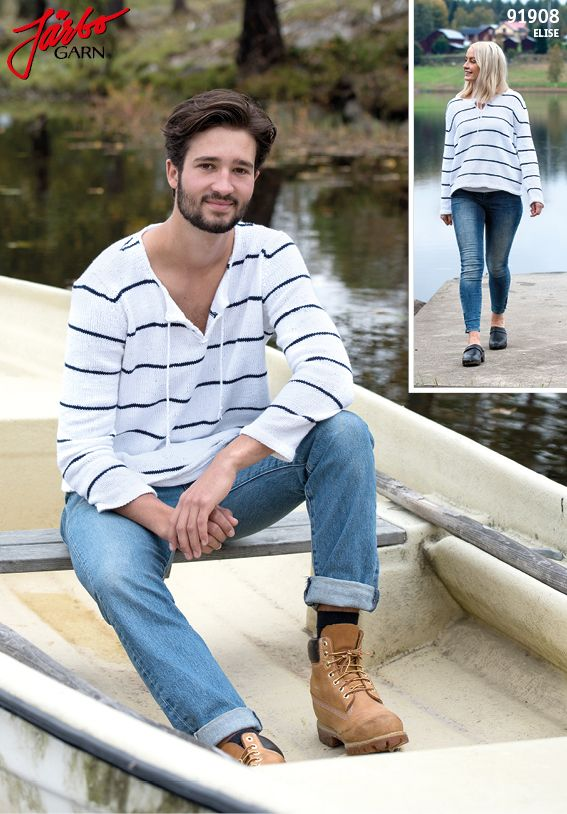 Striped unisex sweater in super soft Elise.