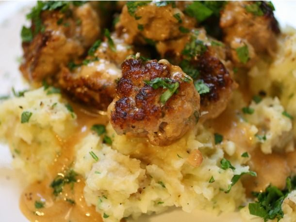 Easy Swedish Meatballs and Smashed Potatoes --tweaks: used combo of lean ground pork and beef with typical sausage spices to cut the fat; beef stock instead of chicken stock; served with roasted new potatoes.