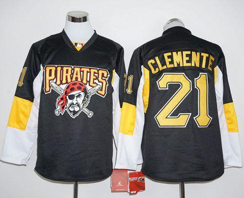 Men's Pittsburgh Pirates #21 Roberto Clemente Retired Black Long Sleeve Baseball Jersey