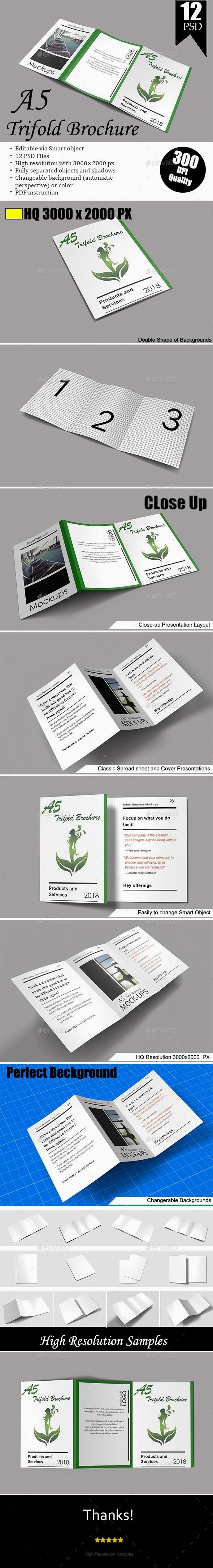Download A5 Trifold Brochure Mockup Vol 1 Trifold Brochure Brochure Print Brochures Mockups