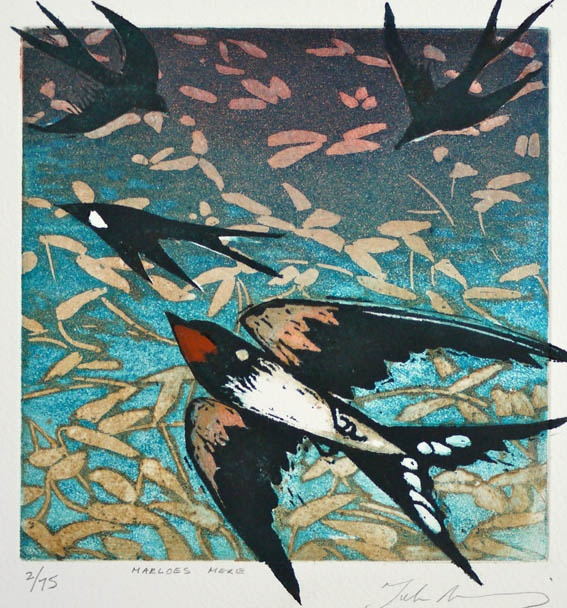 """Marloe's Mere"" by Julia Manning. Etching and Linocut. http://www.twenty-twenty.co.uk/ Tags: Linocut, Cut, Print, Linoleum, Lino, Carving, Block, Woodcut, Helen Elstone, Birds"
