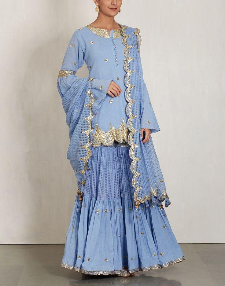 Blue Sharara Set with Sequin Embroidery-SUKRITI & AAKRITI- img1