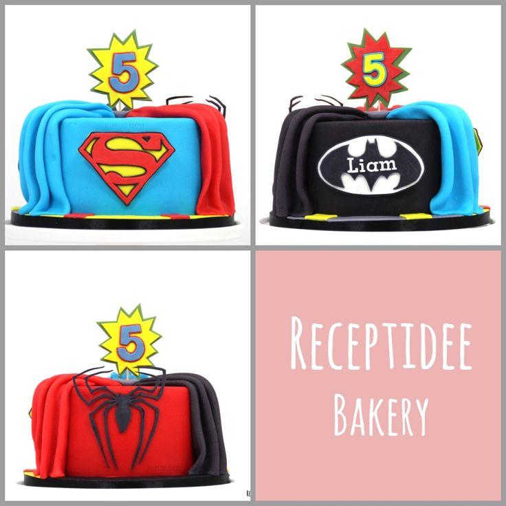 Gefeliciteerd met je verjaardag Liam!   PS: dit is 1 taart   #Superheroes #superherocake #superhelden #superheldentaart #taart #cake #vanillecake #aardbeiconfiture #banketbakkersroom #marsepein #marzipan #spidermancake #spiderman #batman #batmancake #superman #supermancake