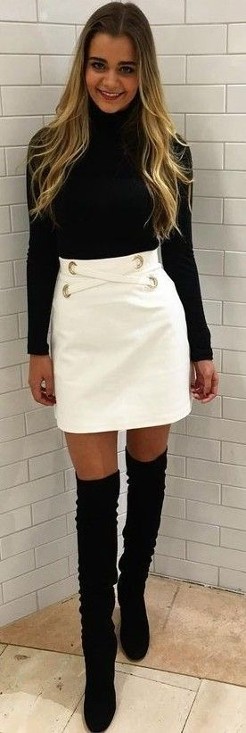 #fall #kookai #australia #outfits |  Black Perfect Polo + White Mini Skirt