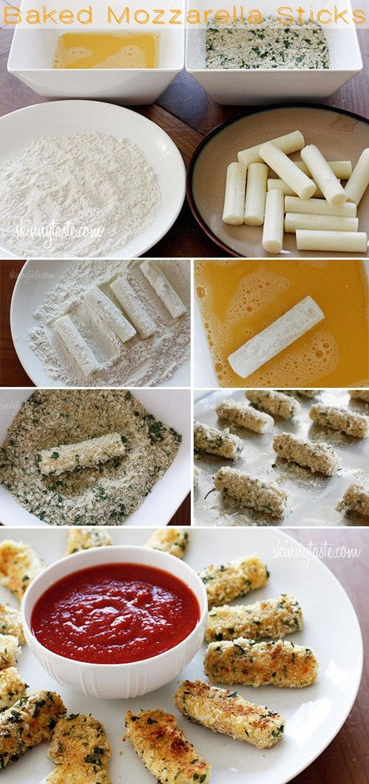 baked mozzarella sticks - Click image to find more Food & Drink Pinterest pins