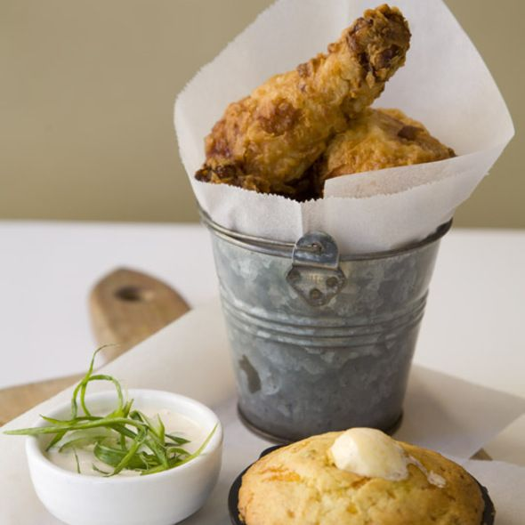 Yummy! Fried chicken in a bucket from Delicatessen (NYC)