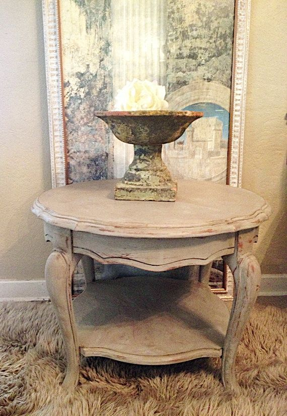 french linen side end table chalk paint distressed rustic shabby cottage chic french linens. Black Bedroom Furniture Sets. Home Design Ideas