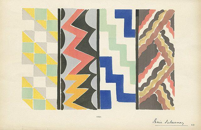 art deco hand painted textile designs Sonia Delaunay #art deco # textile design #fashion design