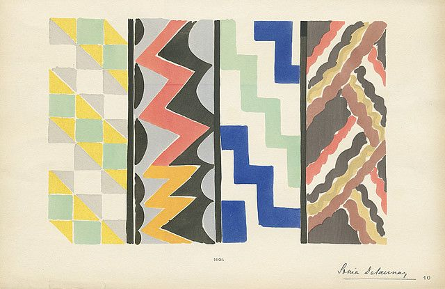 art deco hand painted textile designs Sonia Delaunay #art deco # textile design #fashion design