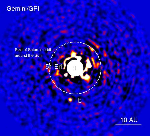 Il pianeta 51 Eridani b è il primo scoperto usando il Gemini Planet Imager (GPI), uno strumento entrato in attività all'inizio del 2014 con il preciso scopo di individuare direttamente pianeti fuori dal sistema solare. Si tratta del più piccolo esopianeta osservato direttamente finora e le sue caratteristiche fanno pensare che assomigli a Giove quand'era molto giovane. Leggi i dettagli nell'articolo!