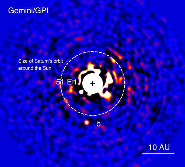 Planet 51 Eridani b is the first discovered using the Gemini Planet Imager (GPI), an instrument that started operating at the beginning of 2014 with the express purpose of directly detecting planets outside the solar system. This is the smallest exoplanet observed directly so far and its characteristics suggest that resembles Jupiter when it was very young. Read the details in the article!