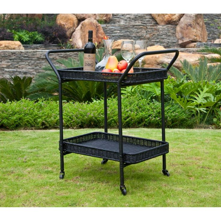 32 Black Resin Wicker Outdoor Patio Garden Serving Cart With Wheels, Patio  Furniture Part 55