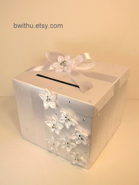 White Wedding Card Box Gift Card Box Money Box Holder-Customize your color