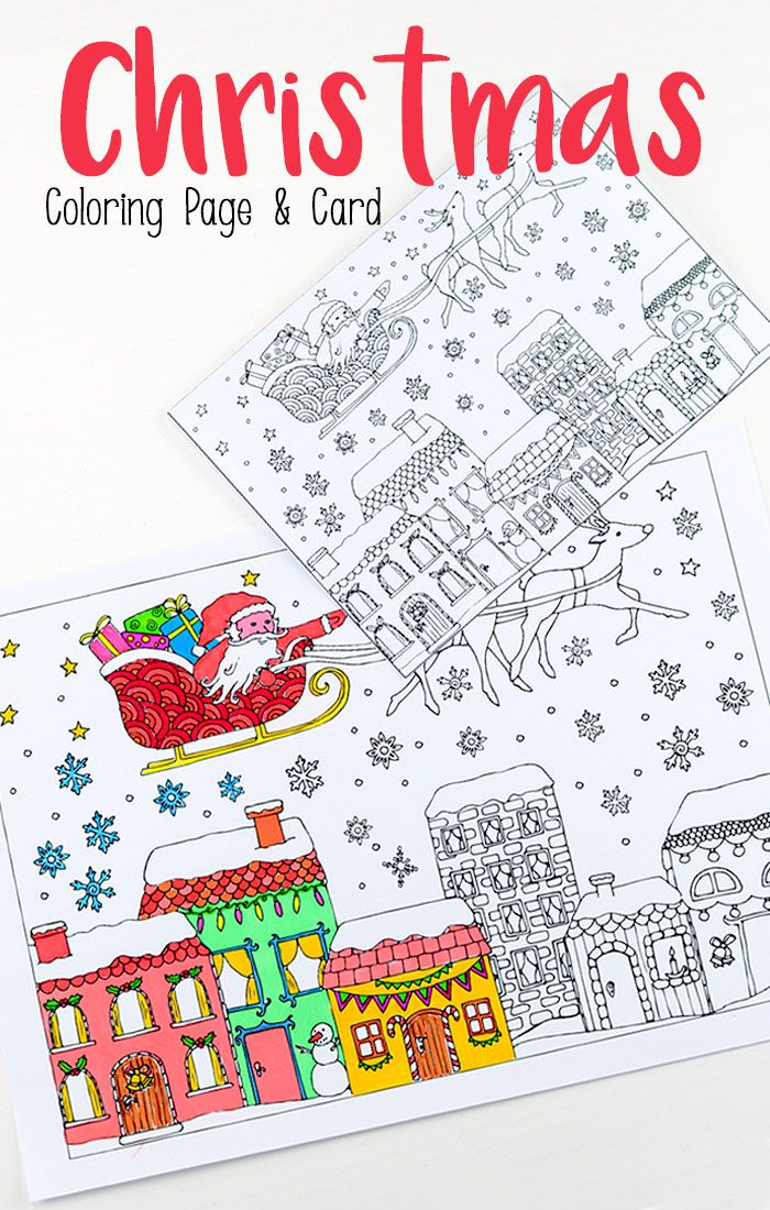 Christmas colouring pages for growns - print and colour your own Christmas cards!