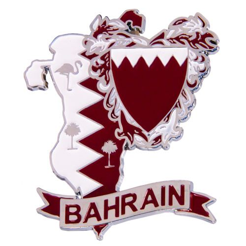 Metal Fridge Magnet: Bahrain. LIMITED EDITION: Map of Bahrain (Chrome Plating and Enamel)