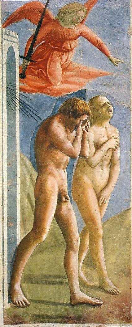 """Masaccio """"Expulsion from the Garden of Eden"""" 1424-1428 Fresco, Brancacci Chapel, Florence"""