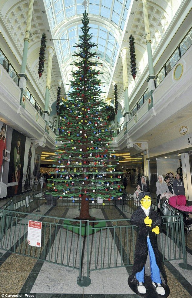 Bonus brick: Visitors to the Trafford Centre could also see a Lego Harry Potter (bottom right) who appeared to be guarding the tree