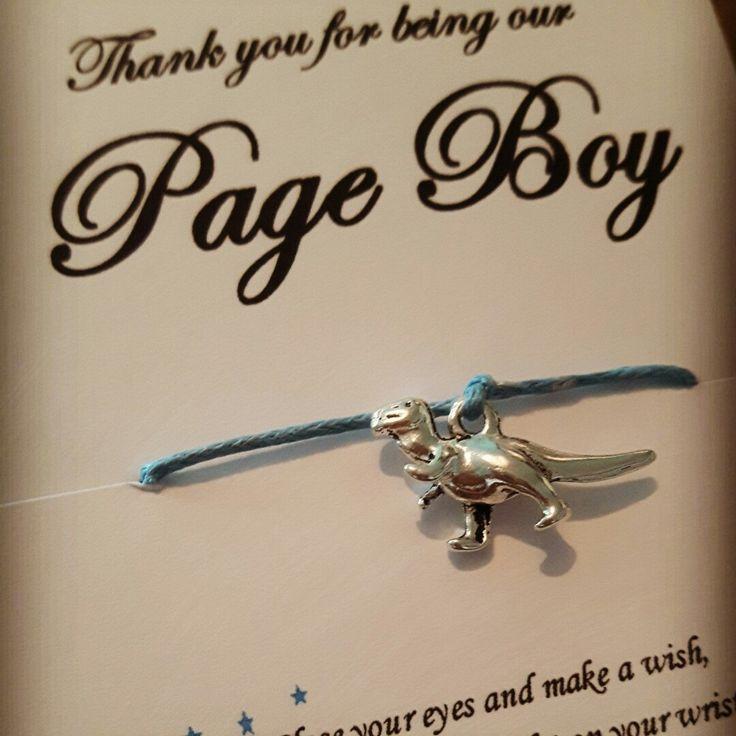 Page Boy Gift Thank You Wedding Favour Kids Activity Dinosaur Wish Bracelet Favor Usher
