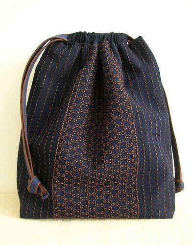 pattern: Kagome(woven bamboo stitch) and line stitch