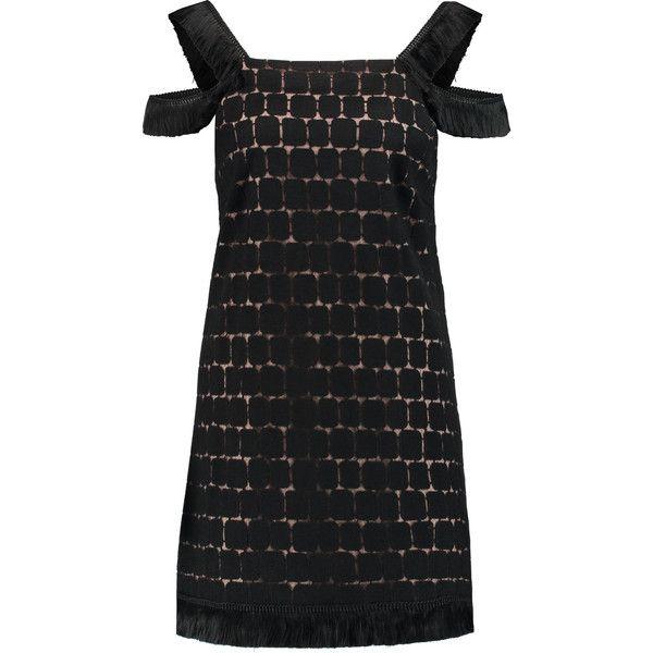 Alexis - Jasmine Appliqu&eacuted Tulle Mini Dress (265 AUD) ❤ liked on Polyvore featuring dresses, black, print mini dress, alexis dresses, print dress, patterned mini dress and short dresses