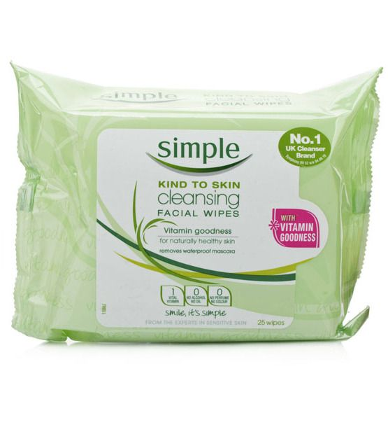 These wipes from recent UK import Simple are a favorite of tons of models — I've seen them carrying them around backstage at multiple fashion shows.  Simple Cleansing Facial Wipes, $4.78